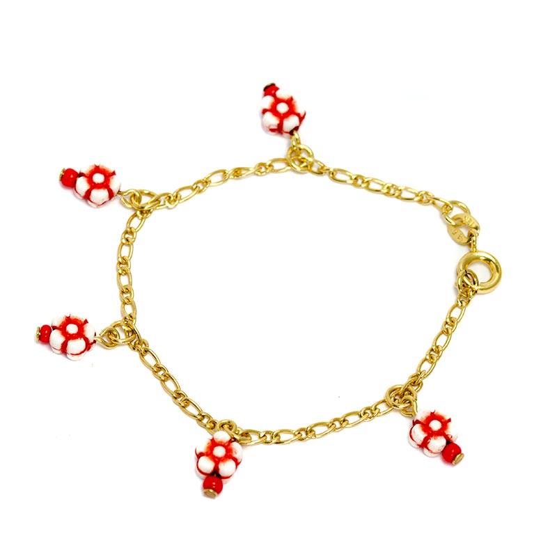 Rode bloemetjes armband voor kinderen kindersieraden