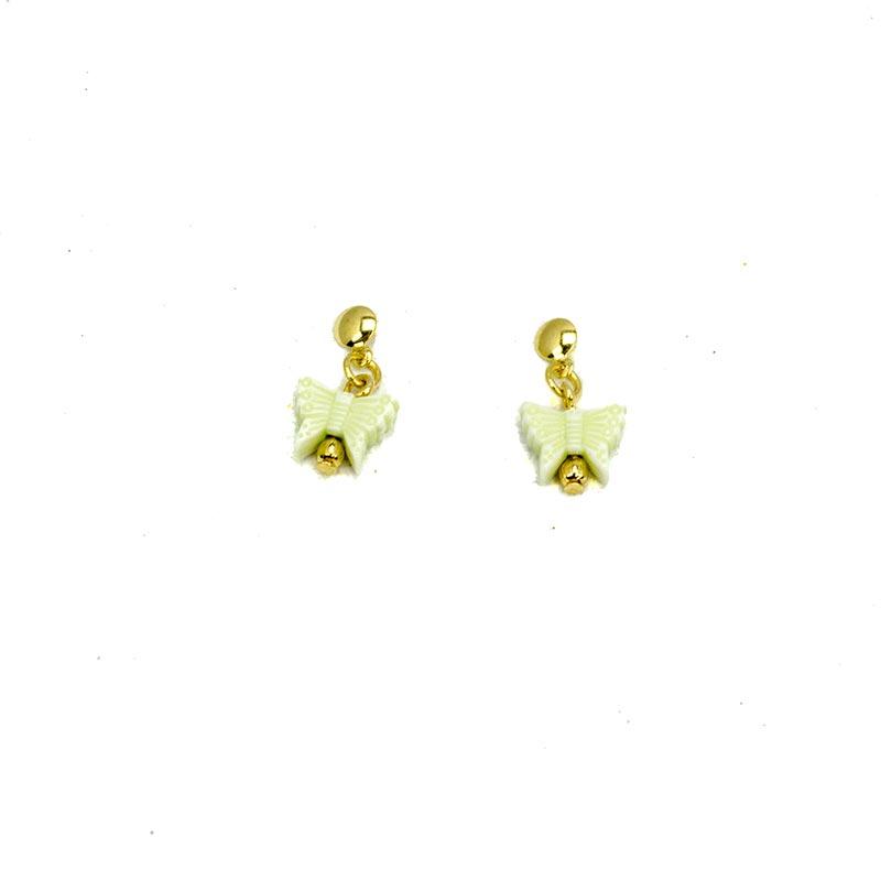 Green butterflies earrings gold plated