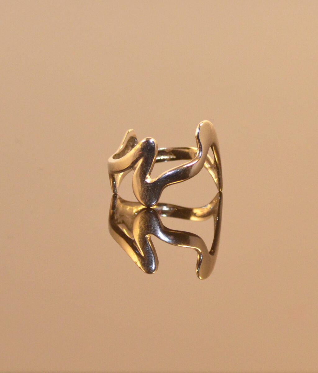 41230b Jagged Ring Verzilverd Yazzy's Fashion Accessories