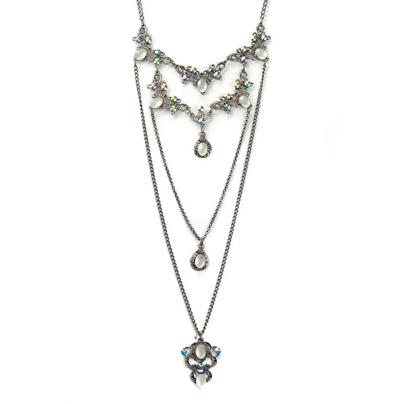 Long Necklace set AB Collier en Couches Swarovski Yazzy's Fashion Accessories
