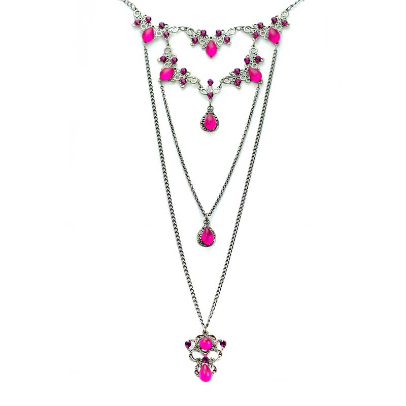 Long Necklace set Pink Collier en Couches Swarovski Yazzy's Fashion Accessories