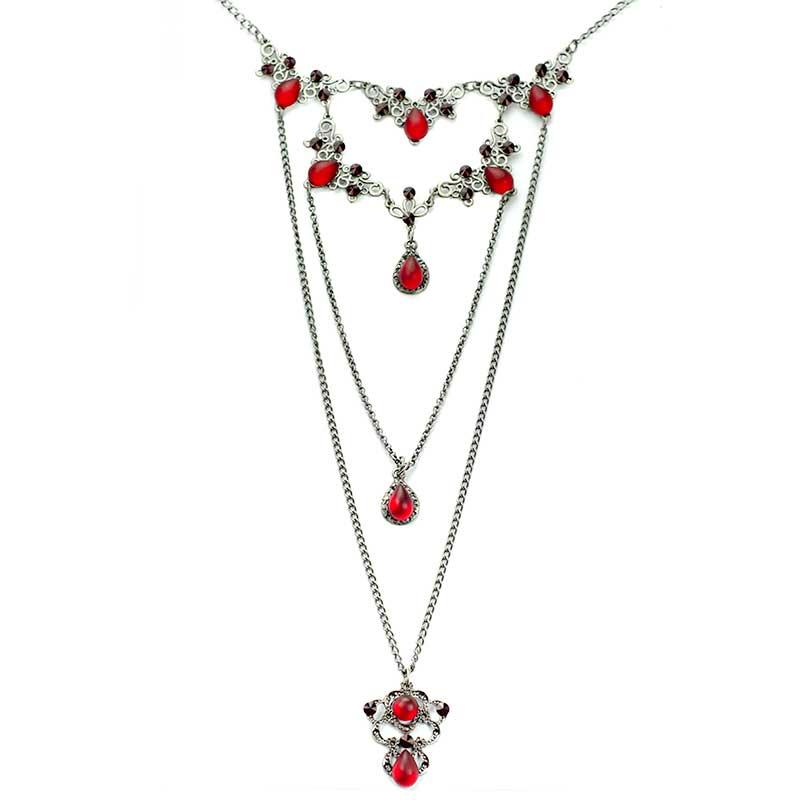 Collier en Couches avec cristaux Swarovski rouge longue
