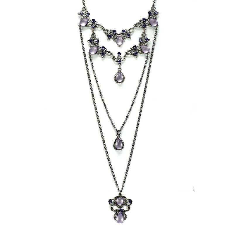 Long Necklace set purple Collier en Couches Swarovski Yazzy's Fashion Accessories