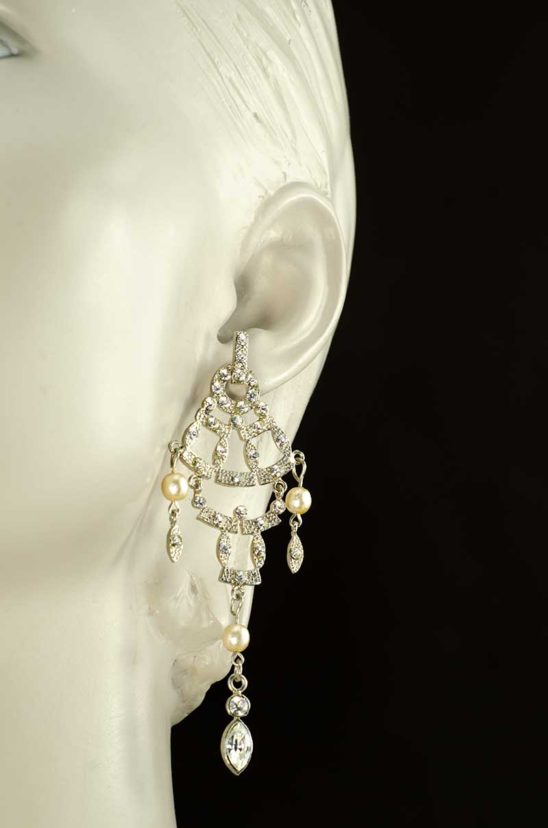 Strass moving earrings with faux pearls Strass und Perlen Ohrhänger Yazzy's Fashion Accessories