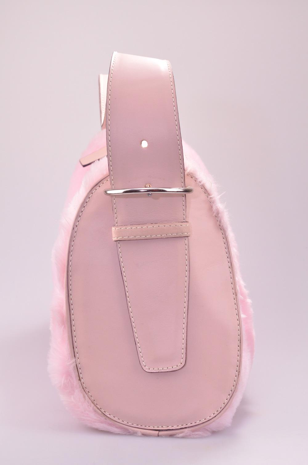 B2000a Roze faux fur Handtas Yazzy's Fashion Accessories