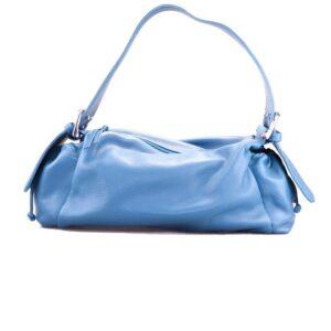 blauwe lederen handtas baguette vorm