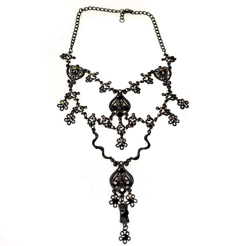Zwarte Gothic Ketting met Swarovski kristallen zwarte ketting