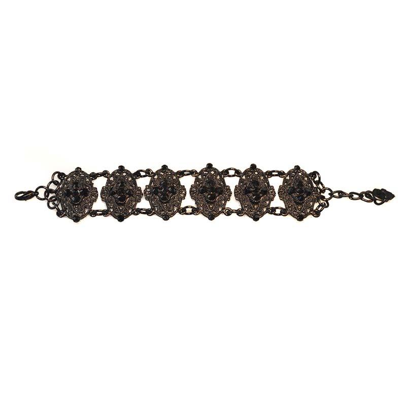 Jet black braclet swarovski crystals Bracelet Gothique Swarovski Yazzy's Fashion Accessories