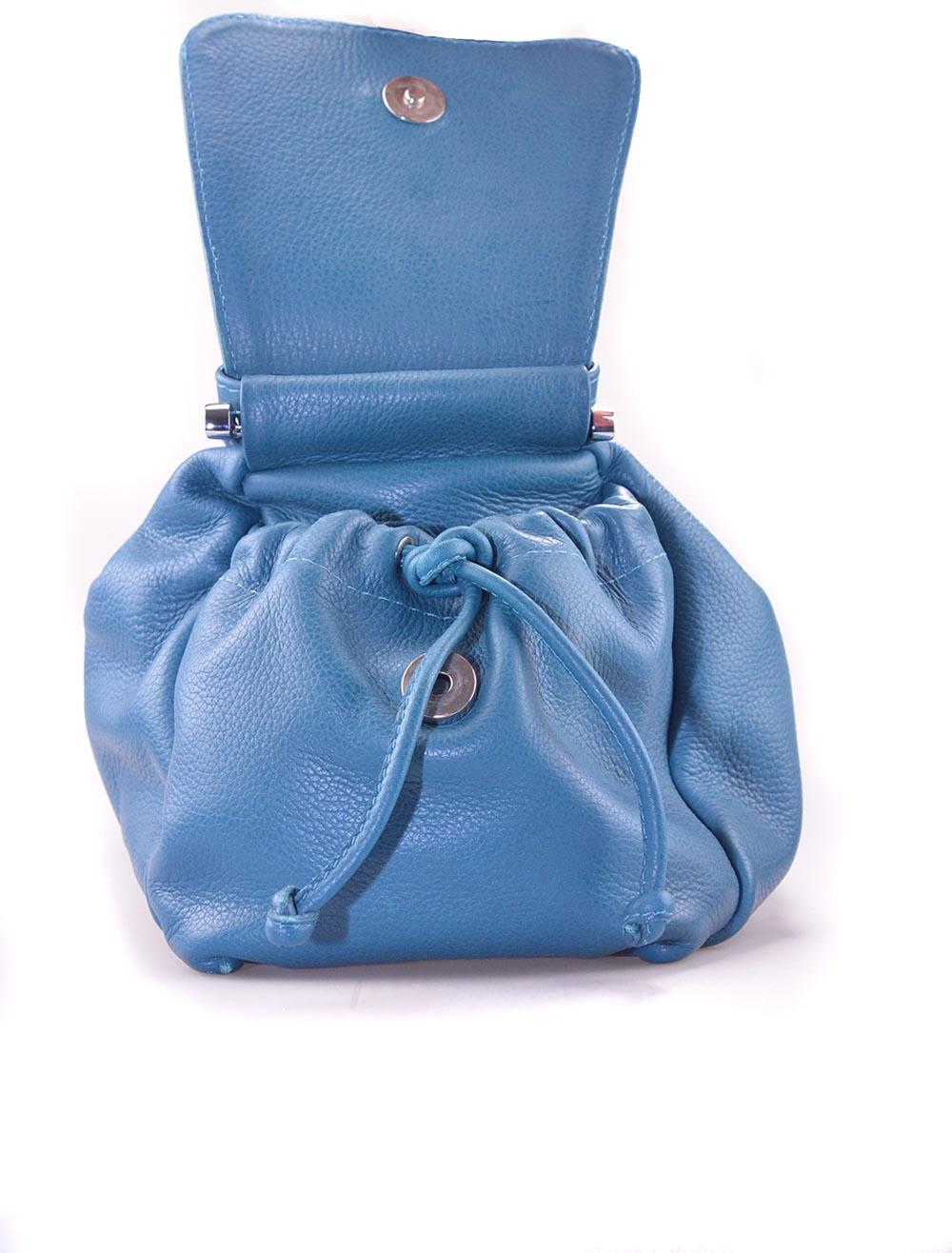 Leren handtas blauw met zakken