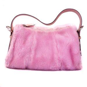Fluffy roze faux fur handtas