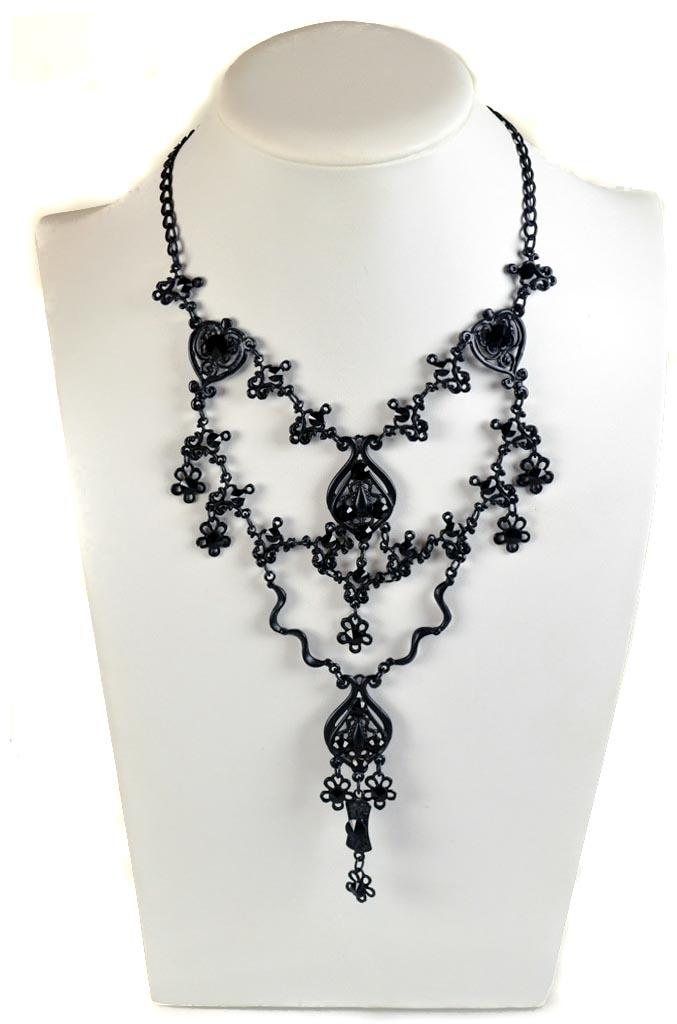 Swarovski jet black gothic necklace
