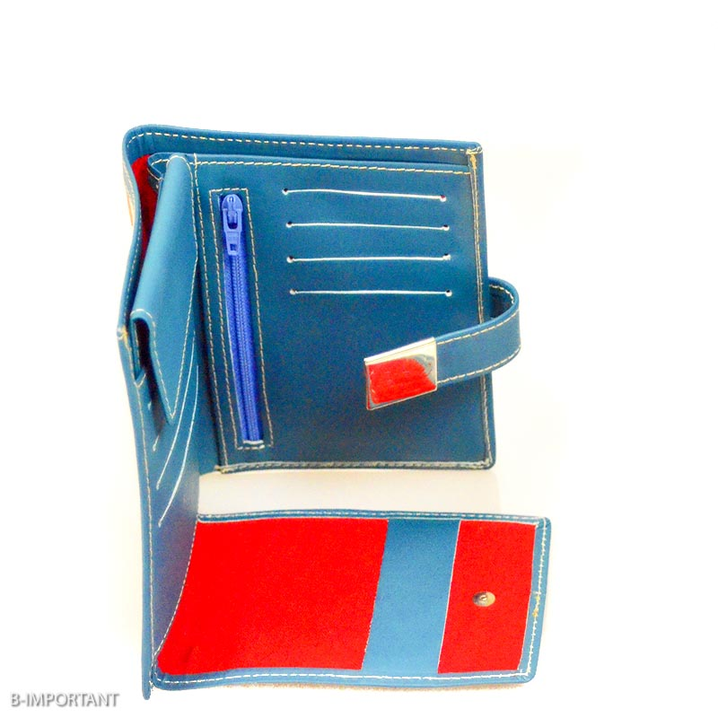 blue leather wallet womens Blauwe Lederen Portemonnee Yazzy's Fashion Accessories