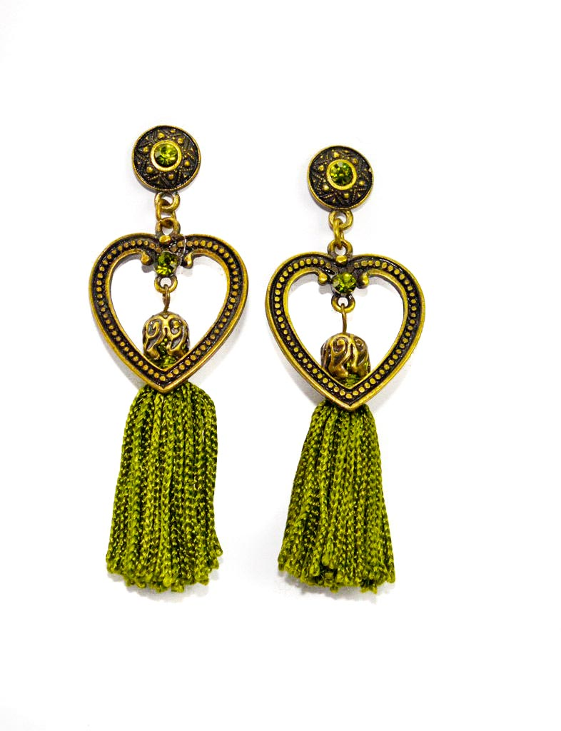green tassel earrings with heart crystals Tassel Ketting Set Groen Yazzy's Fashion Accessories