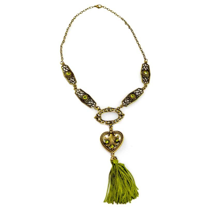 green tassel necklace set Parure Sautoir Pompon Vert Yazzy's Fashion Accessories