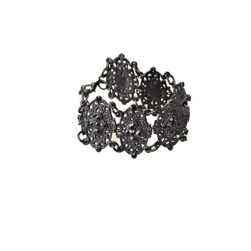 Bracelet Gothique Swarovski noir cristaux
