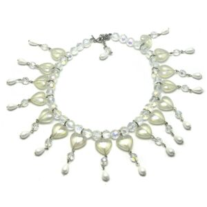 Hearts choker-with earrings and faux-pearls