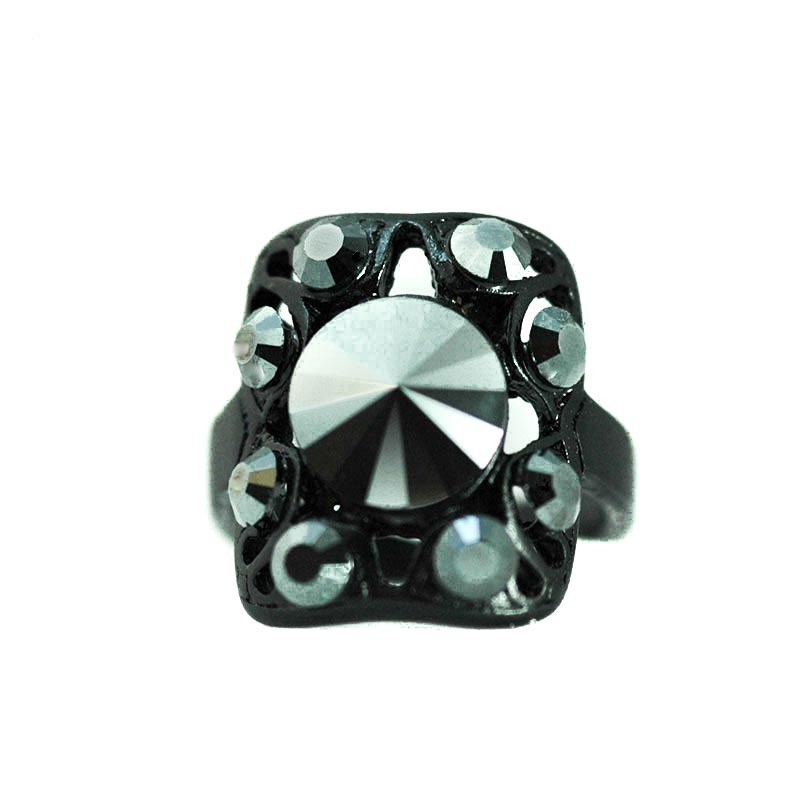 black gothic ring swarovski Jet Black kristallen ring Yazzy's Fashion Accessories