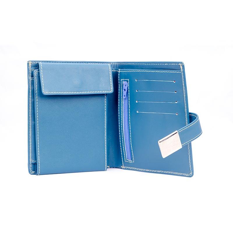 blue leather wallet inside Blue Leather Wallet