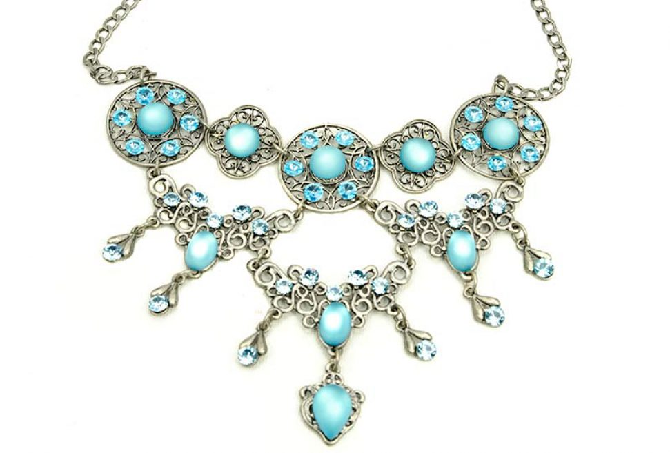 cropped Blue crystal necklace set with earrings Dreifachen Swarovski Ohrsteckern Yazzy's Fashion Accessories