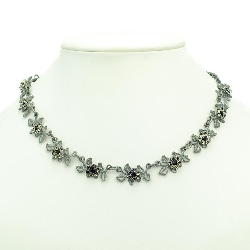 necklace set leaves with swarovski