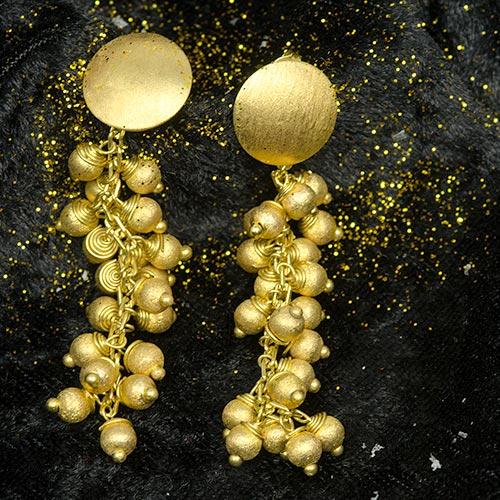 golden earrings Boucles d'Oreilles Plaqué Or Sphères Yazzy's Fashion Accessories