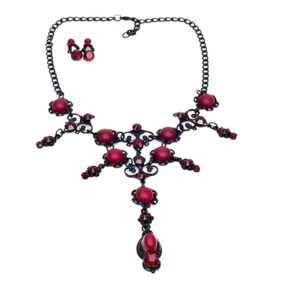 Baton Rouge Red Gothic Necklace Set
