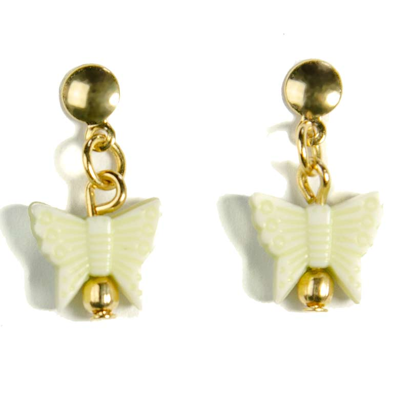 green butterfly earring gold plated