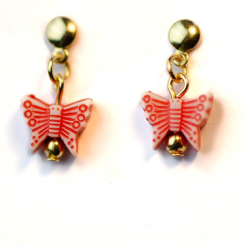 rode vlinder oorbellen verguld