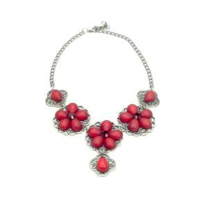 Rode Bloemen Sieraden Set met Swarovski Elementen
