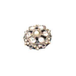 Statement Ring mit Strass und Perlen