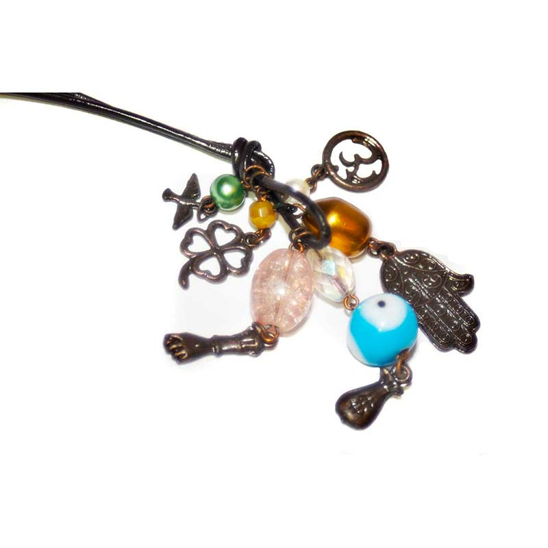 Charm Necklace with beads and leather cord