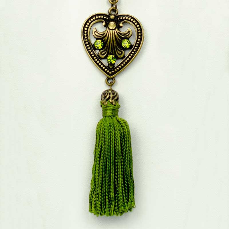 green tassel set detail Parure Sautoir Pompon Vert Yazzy's Fashion Accessories