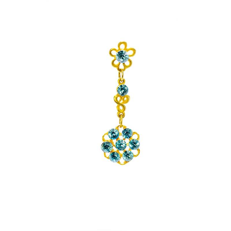 blue swarovskie gold colour 2 Goldfarbenen Ohrringe Yazzy's Fashion Accessories