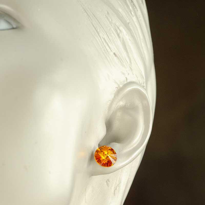 Earring Studs Worn with Swarovski Elements