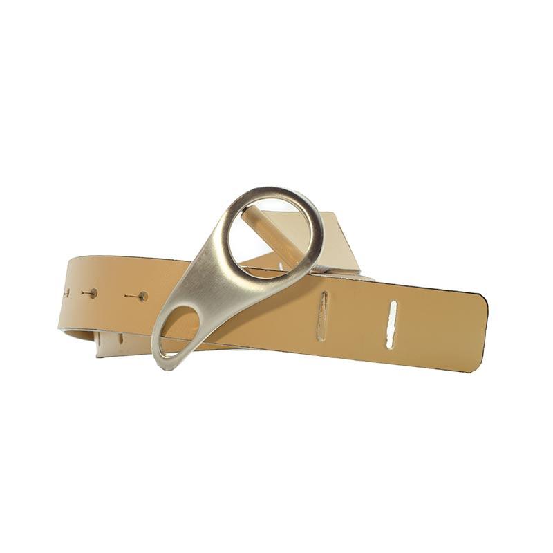 beige belt with nice buckle Ceinture en Cuir Beige Yazzy's Fashion Accessories