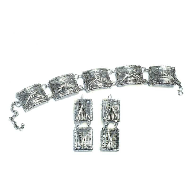 Verzilverde armband set sieraden set