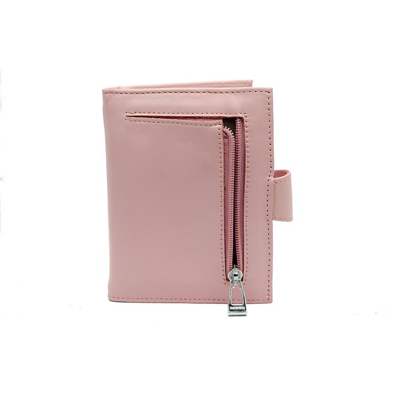 leather wallet pink with zipper back Portefeuille Rose en Cuir Yazzy's Fashion Accessories