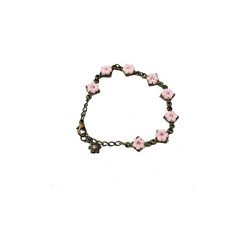 pink flower bracelet with strass kids2 Bracelet Fleuri A Strass Yazzy's Fashion Accessories