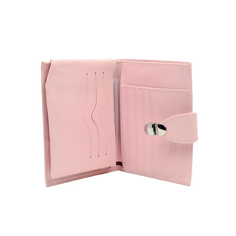pink leather wallet inside Portefeuille Rose en Cuir Yazzy's Fashion Accessories