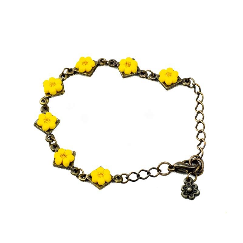 Yellow Flowers with Strass Bracelet