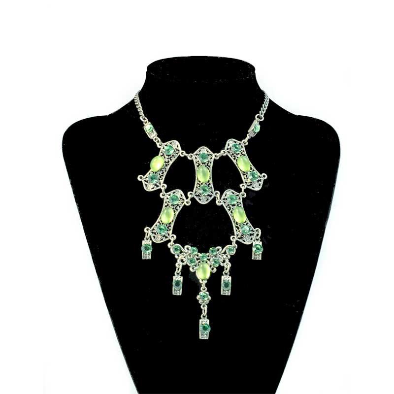Green vintage necklace Vintage Look Halskette Set Yazzy's Fashion Accessories