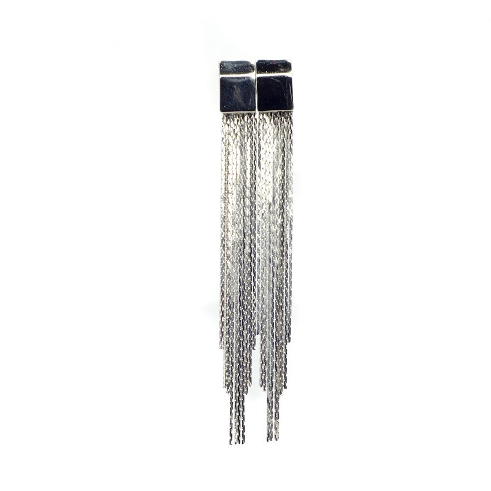 Long silver plated earrings