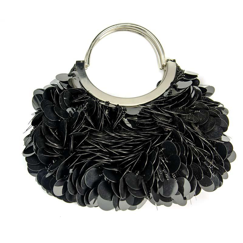 black evening handbag with sequins