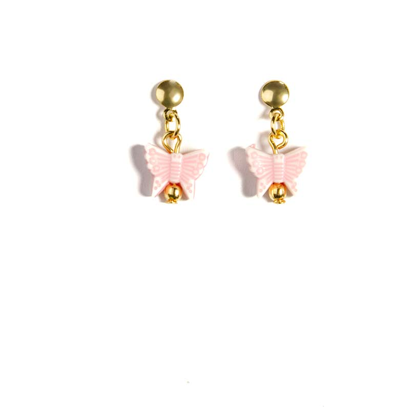 pink buttery fly earring gold plated