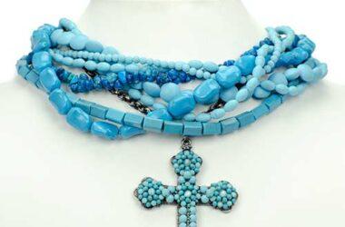 neckmess turquoise kettingen