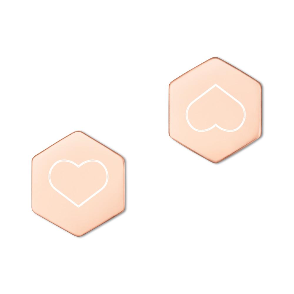 Silver Hexagon Stud Earrings with heart