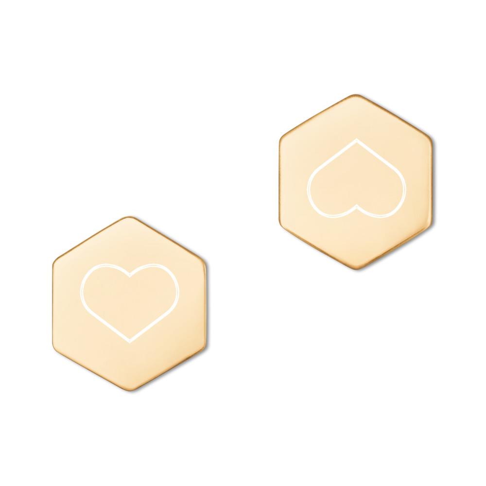 Zilveren Hexagon Oorknopjes