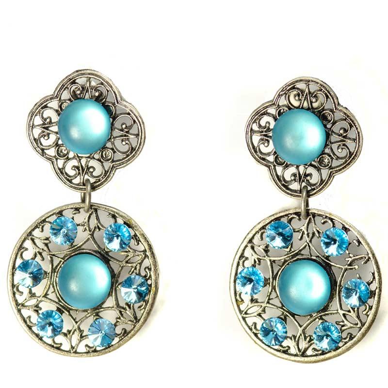 Blue Swarovski Earrings Clip On Handmade