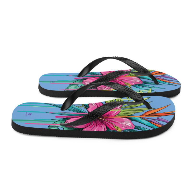 flip flops with flowers Tongs Dessin Floral Yazzy's Fashion Accessories