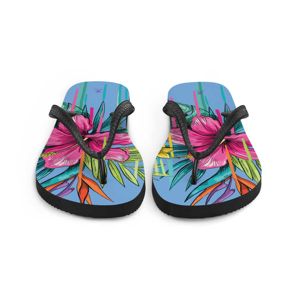 summery flip flops with flowers Tongs Dessin Floral Yazzy's Fashion Accessories